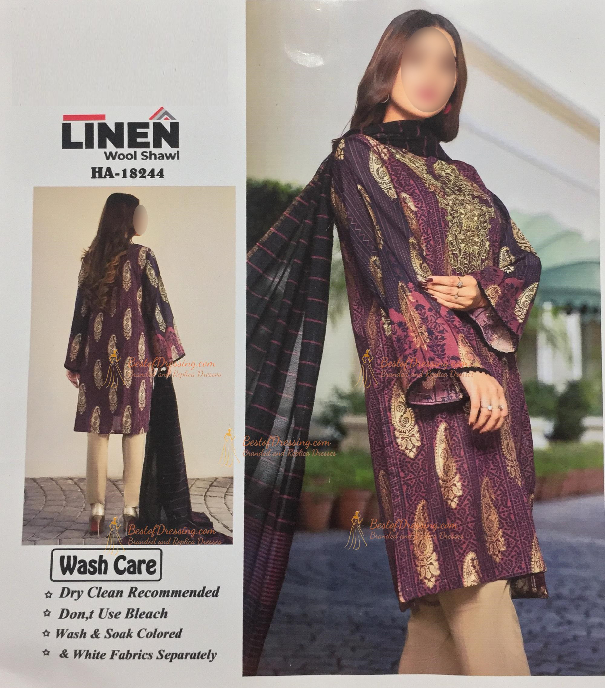Maroon Linen Eastern 3 PC (Unstitched) for Ladies