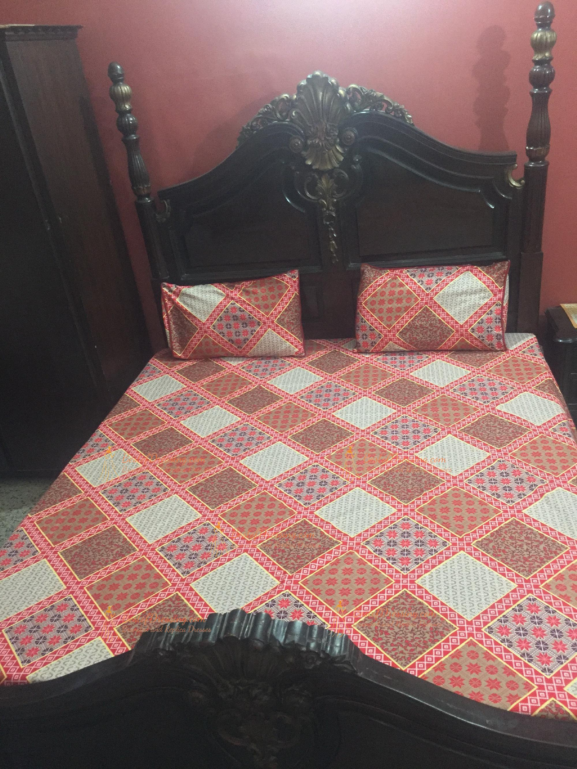 Red Heavy Thick PC Fabric Bed Sheet by Diamond Crystal