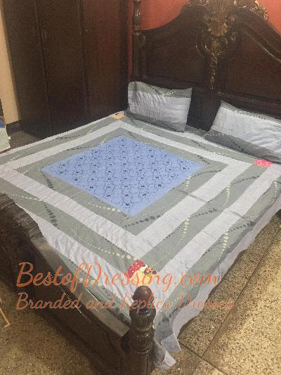 Light Blue Cotton Sattan Bed Sheet with Embroidered Patch Working