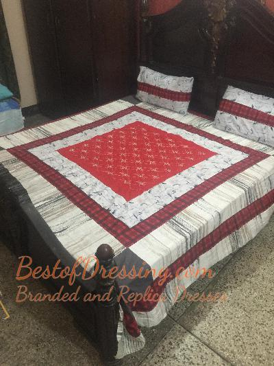 Red Cotton Sattan Bed Sheet with Embroidered Patch Working