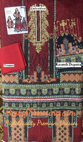Red Karandi Eastern 3 PC (Unstitched) for Ladies