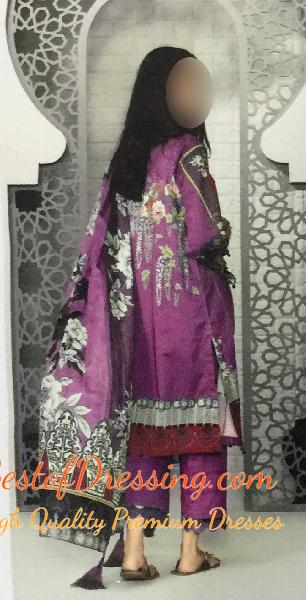 Orchid (Light Purple) Dhanak Eastern 3 PC (Unstitched) for Ladies