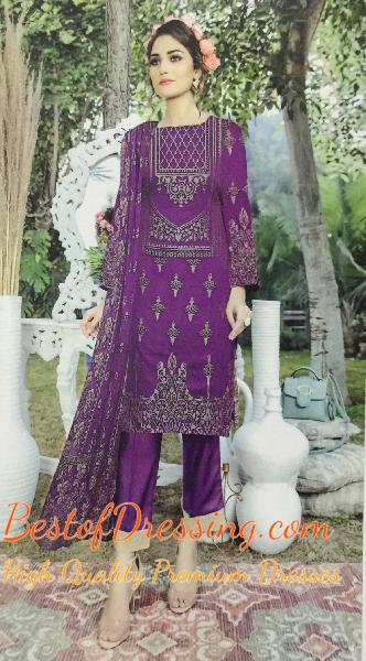Purple Jacquard 3 PC (Unstitched) for Ladies by Fiza Noor