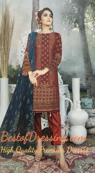 Red Jacquard 3 PC (Unstitched) for Ladies by Fiza Noor