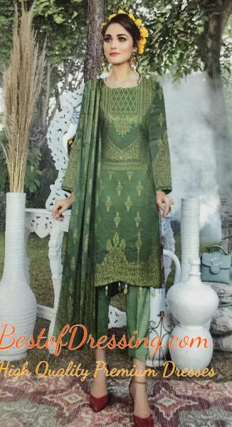 Light Green Jacquard 3 PC (Unstitched) for Ladies by Fiza Noor